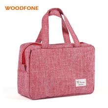 WOODFONE Travel Women Cosmetic Bag Lienzo Maquillaje Oganizer Lady Handle Neceser Bolsas de Embalaje Cubo Wash Carry Bag eekend