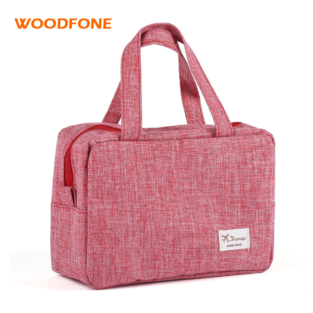 WOODFONE Travel Women Cosmetic Bag Canvas Makeup Oganizer Lady Handle Toiletry Bag Packing Cubes Wash Carry Bag eekend