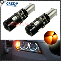2pcs Car Styling H21W BAY9s 120 Degress Canbus High Power Yellow 9W 4 SMD CREE LED