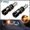 2pcs car styling H21W BAY9s 120 degress Canbus High Power yellow 9W 4-SMD CRE'E LED Lens Bulbs for Front rear Turn Signal lights