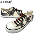 JUP Women Animated Cartoon Anime Butterfly Despicable Me Minion Shoe Couples Hand Painted Canvas Shoes Casual Black Tie Shoelace
