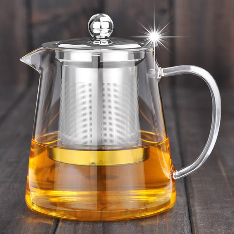 Good Clear Borosilicate Glass Teapot With 304 Stainless Steel Infuser Strainer Heat green Tea Pot Tool Kettle Set