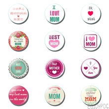 12pcs Mothers Day 25mm 30mm Fridge Magnets Love Mom Kids Glass Dome Magnetic Refrigerator Stickers Home Decor Gift