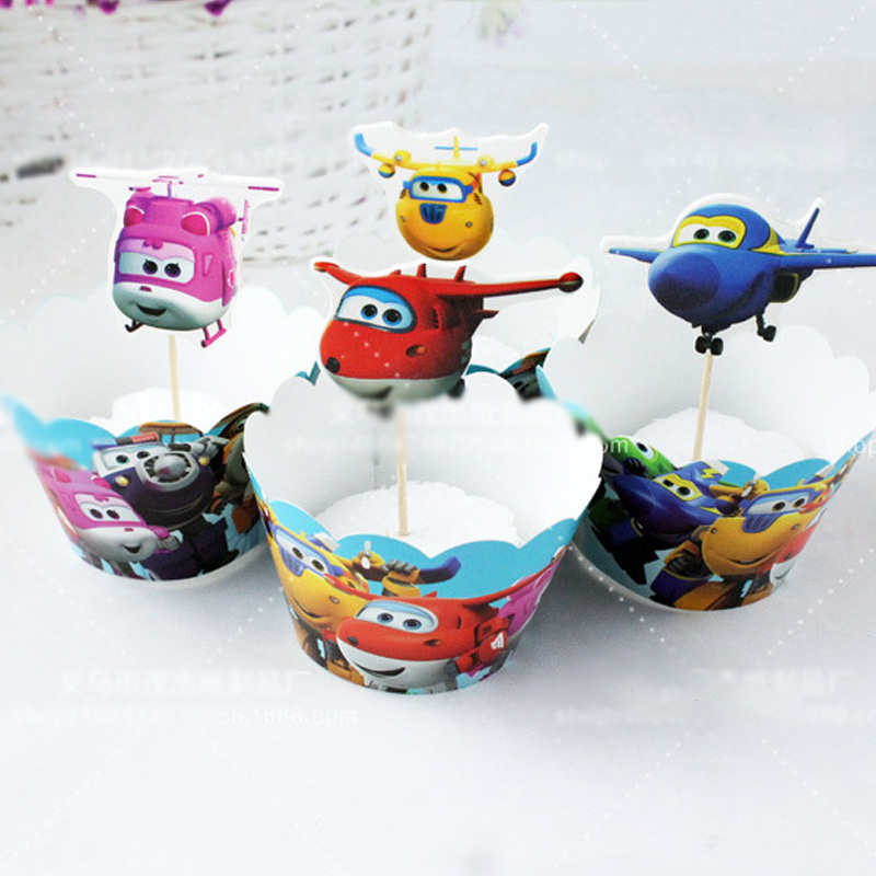 1 Pack Baby Shower Super Wings Theme Cupcake Toppers Cake Wrappers Happy Birthday Party Kids Favors Decorate Events Supplies