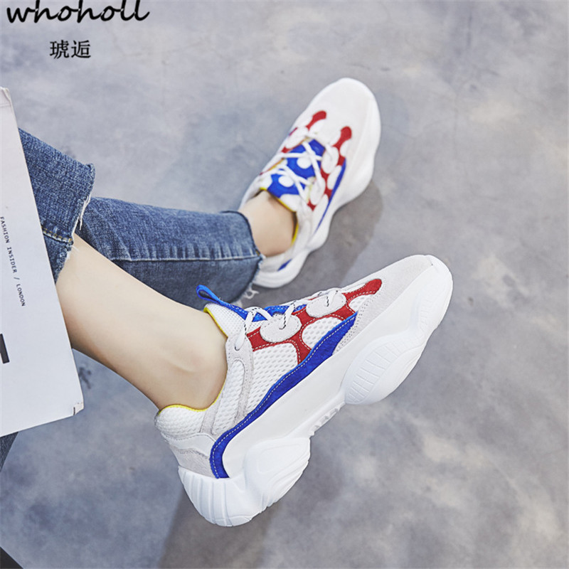 WHOHOLL 2018 Trainers Sneakers Women Casual Shoes Air Mesh Grils Wedges Platform Shoes Woman Tenis Feminino Zapatos Mujer