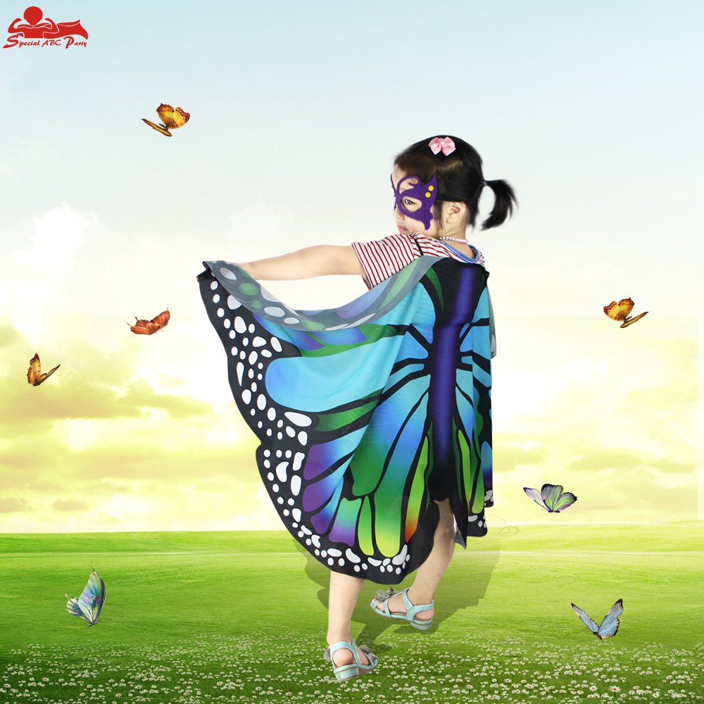 3-8 Y.O Special Lovely Butterfly Wings Mask Child Flapping Fancy Dress Animal Costumes Birthday Party Summer Sunscreen Suits
