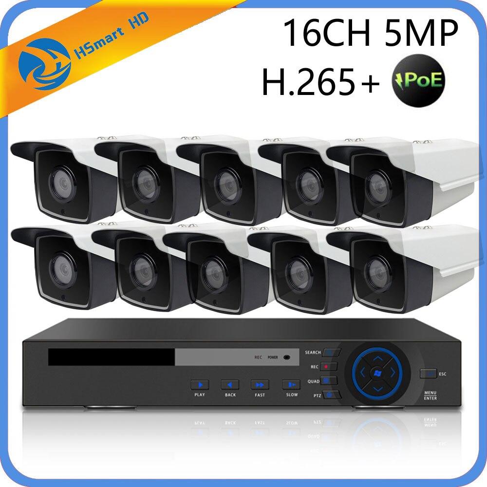 16CH 5MP POE NVR CCTV Sistema di Sicurezza 4 IR LED per Esterni 3MP Macchina Fotografica del IP Dome poe Telecamere 3.0MP P2P Video sistema di sorveglianza + 4 tb