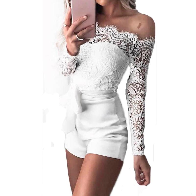 Femmes dames d'été automne hors épaule combinaisons sexy à manches longues en dentelle transparente patchwork bandage creux maigre combishorts