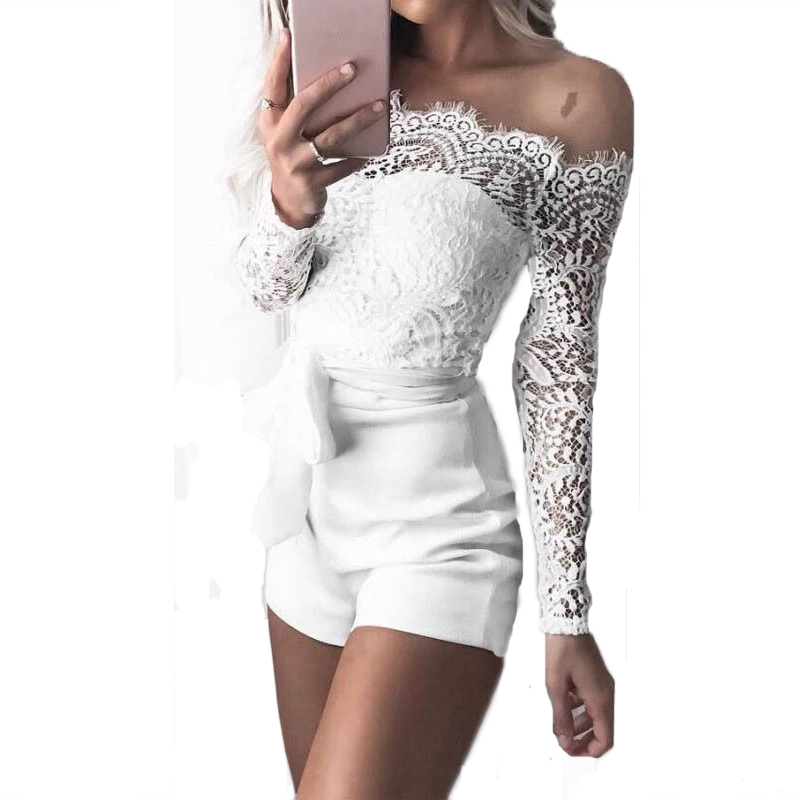 Women Fancy Summer Fall Off Shoulder Sexy Playsuits Jumpsuits Long Sleeve Sheer Lace Patchwork Hollow Bandage Skinny Outfits Set