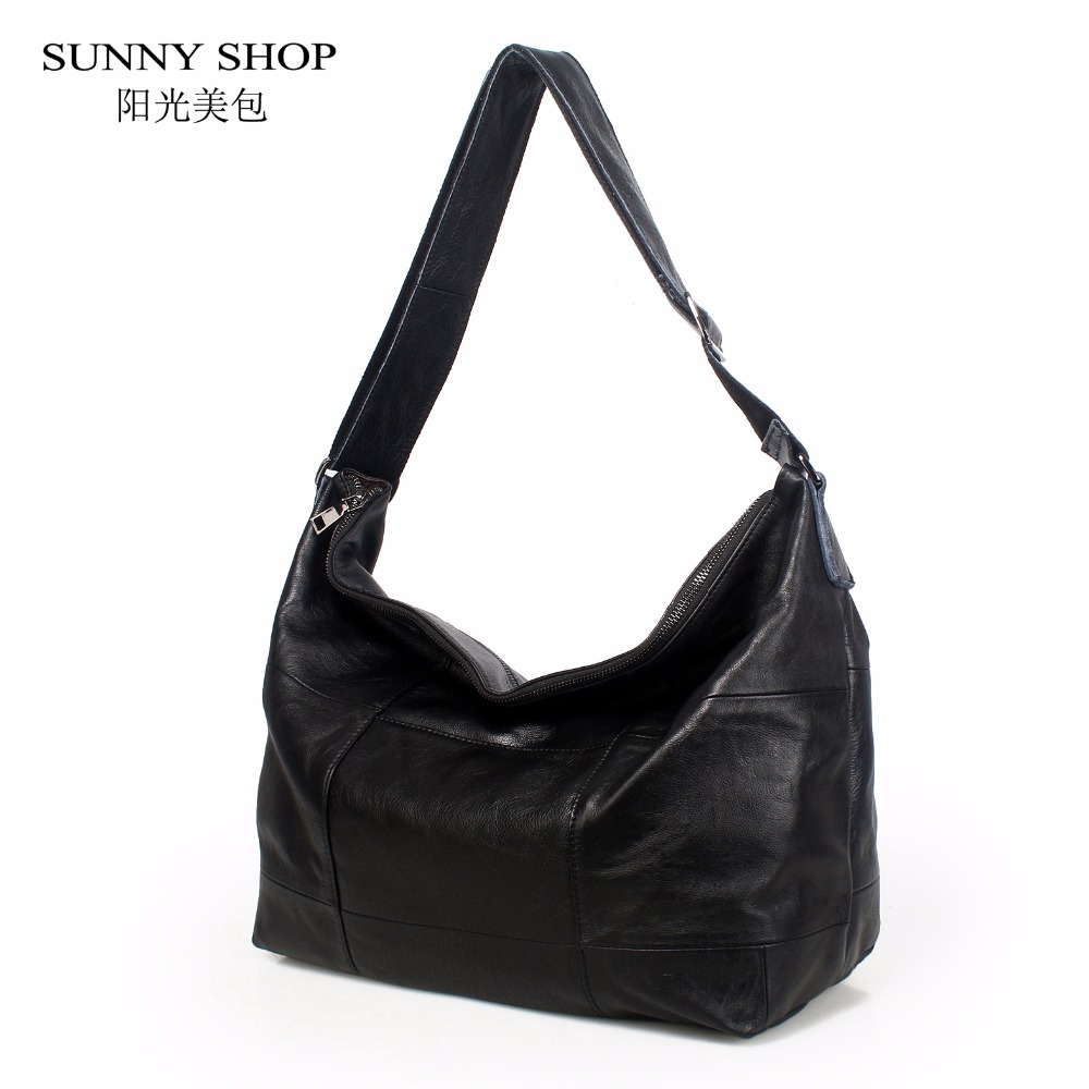 SUNNY SHOP Brand Luxury 100% Genuine Leather Handbags For Women Large Capacity Plaid Shoulder Bags Office Business Tote Hobos A4