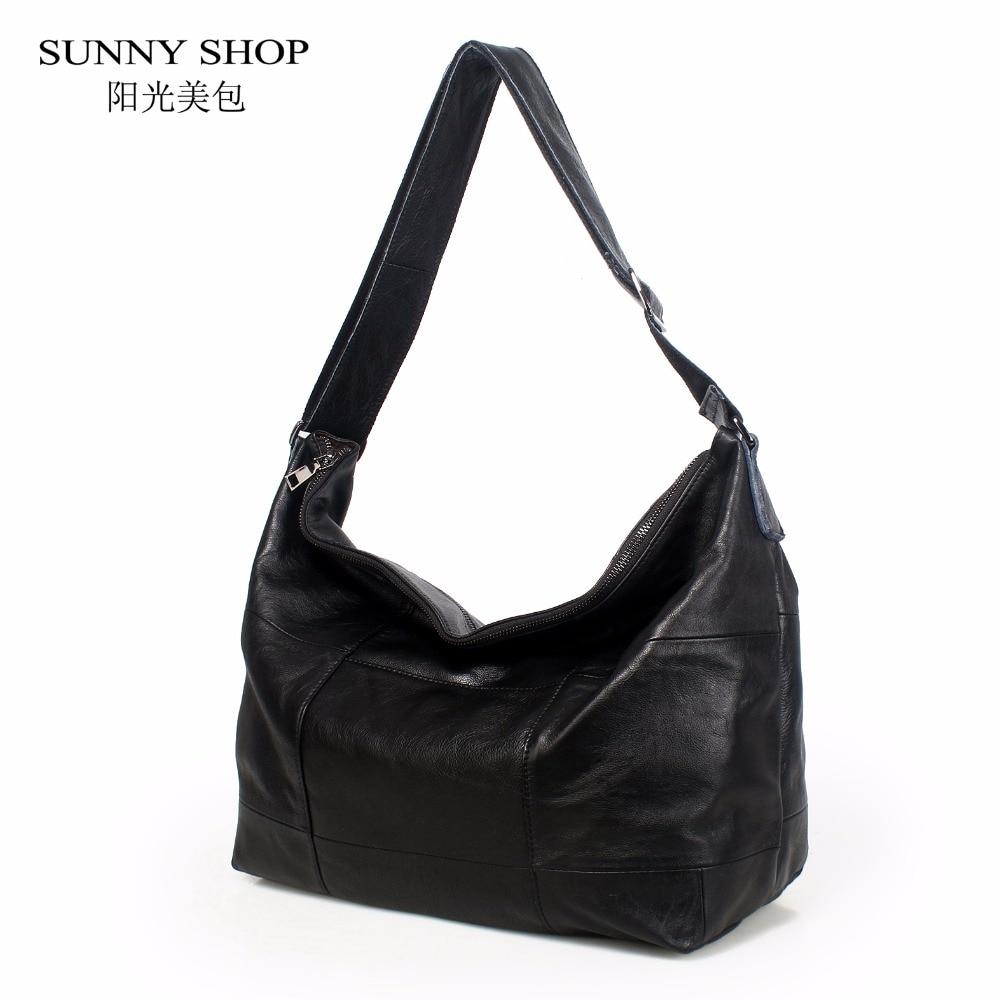 SUNNY SHOP Marke Luxus 100% Echtem Leder Handtaschen Für Frauen Große Kapazität Plaid Schulter Taschen Büro Business Tote Hobos A4-in Schultertaschen aus Gepäck & Taschen bei  Gruppe 1
