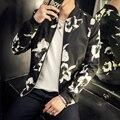 Otoño Chaqueta de Los Hombres de Moda 2016 Nueva Floral Chaquetas de Los Hombres de Cuello de Béisbol Casual Hombre Abrigo Plus Tamaño Cazadora Chaqueta Masculina 5XL-M