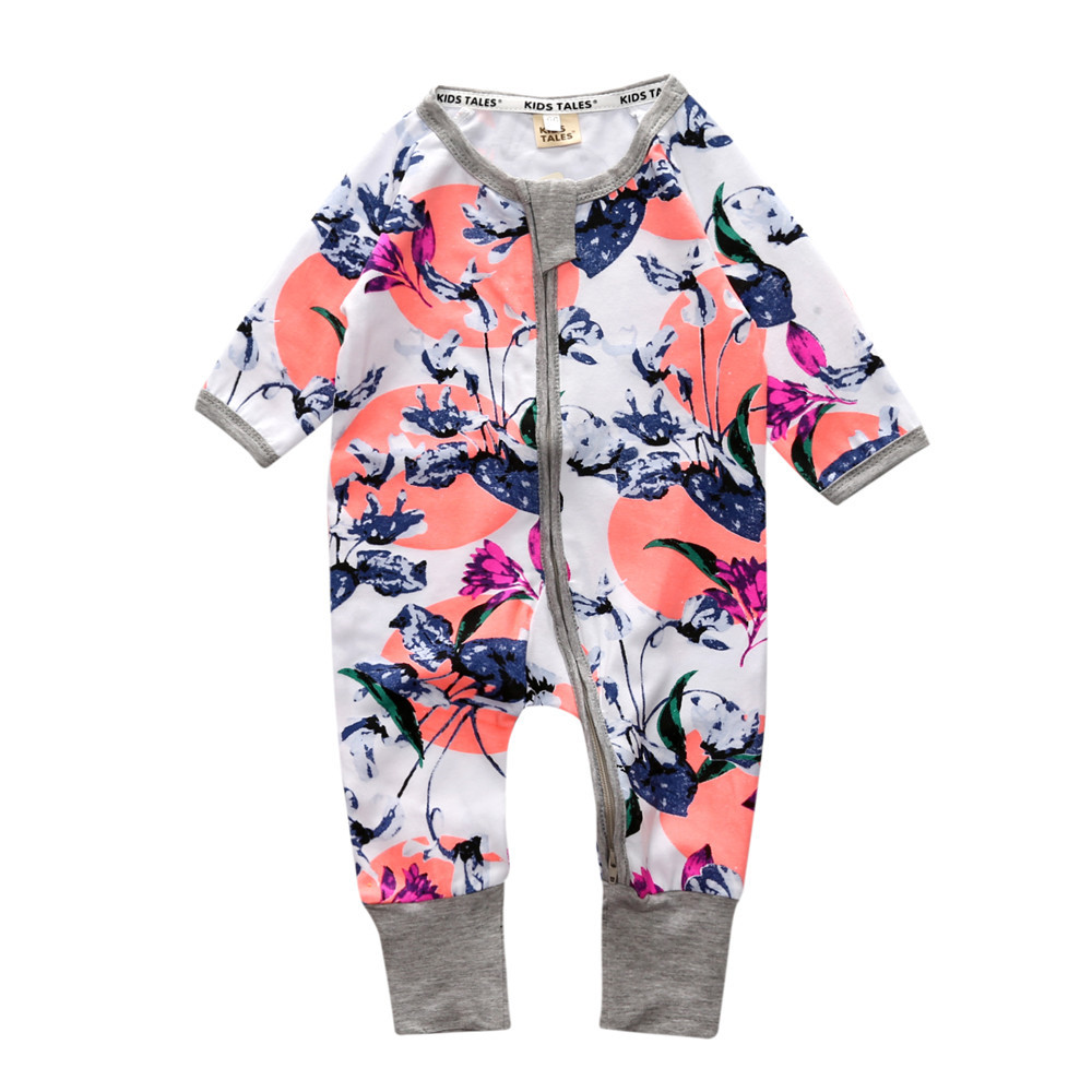 2017 Autumn baby girls boys cotton long sleeve printed zipper rompers spring infant casual clothes kids soft jumpers 17A801