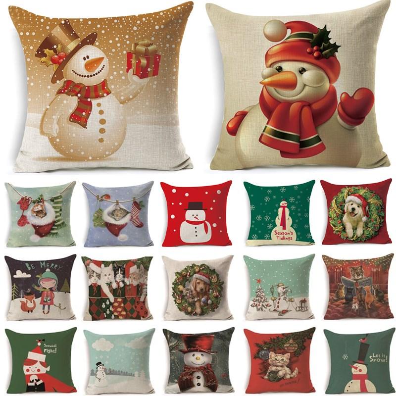 Home & Garden Home Textile Hospitable 1pcs 43*43cm Christmas Dog Snowman Pattern Cotton Linen Throw Pillow Cushion Cover Car Home Sofa Decorative Pillowcase 40476