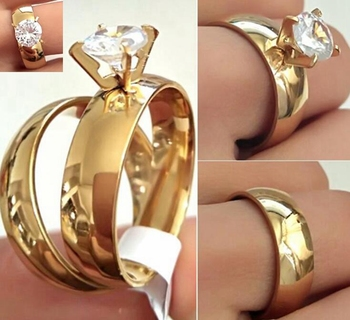 24pcs(12Sets) Gold Couple's Ring Wedding Band CZ Ring Lovers Anniversary Ring Classic Party Jewelry for Men & Women