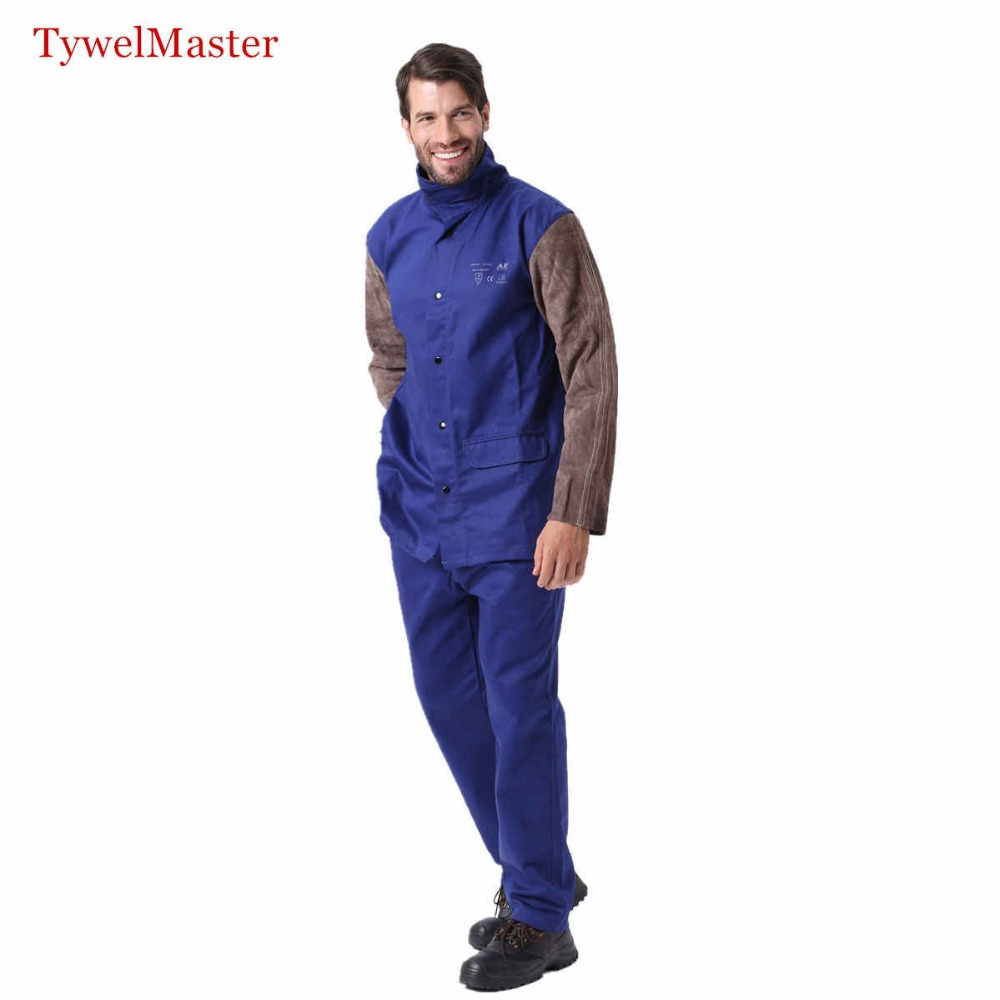 Welding Suit Worker Clothes Jacket Pant Working Suit Flame Resistant Cowhide Leather Long Sleeve Welder Coordinates
