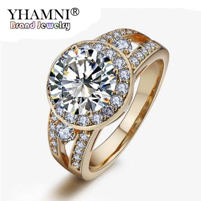 a basso prezzo grande collezione scegli il più recente YHAMNI 100% Originale Oro Anelli Reale 2ct CZ Zircone Anello di  Fidanzamento Rosa Color Nozze Per Le Donne ACRI000