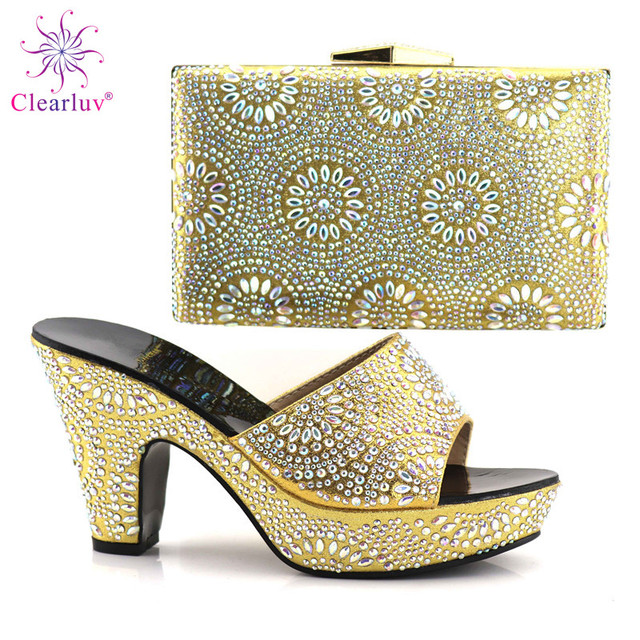 Golden Color Italian Ladies Shoe and Bag Set Decorated with Rhinestone  Nigerian Party Shoe and Bag Set High Quality Shoe and Bag 9ab1413083d1
