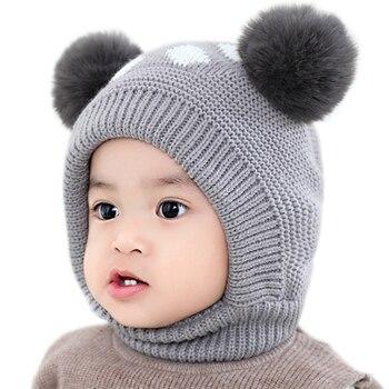 0a20e558e Bebé sombrero bebé de terciopelo de invierno bola oreja de niños otoño  punto sombrero cuello tapa recién nacido fotografía Prop para bebé los  niños y las ...