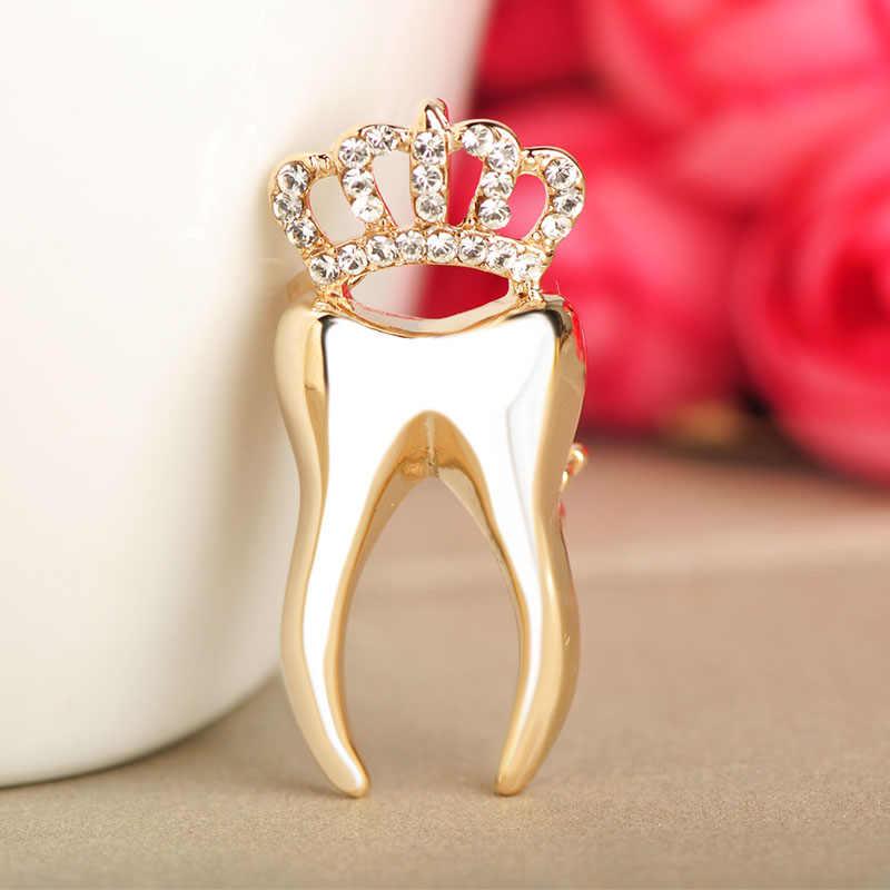 Blucome Crown Bentuk Gigi Bros Alloy Crystal Bros Dokter Gigi Hadiah Wanita Anak Perempuan Cocok Gaun Pesta Aksesoris Pakaian