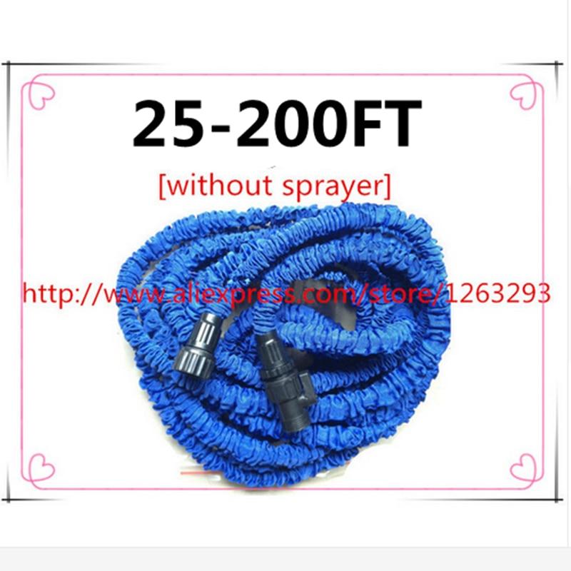 Magisk flexibel slang expanderbar 25FT-200FT Trädgårdsslangar Vattenventil blå vattenanslutning [utan spruta]