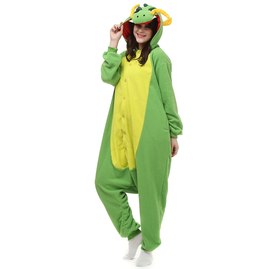 Adults Polar Fleece Kigurumi China Dragon Costume Cartoon Animal Onesies Pajamas Halloween Carnival Masquerade Party Jumpsuit
