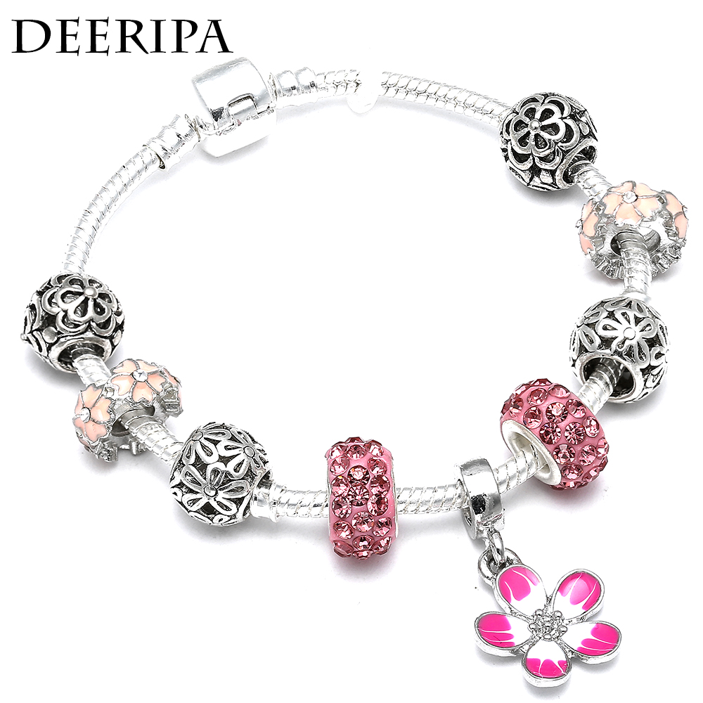US $1 99 30% OFF DEERIPA New Listing 4 Color Cherry Blossom Pendant Charm  Bracelet Purple Pink Beads Pandora Bracelet For Women Jewelry Gifts-in  Charm