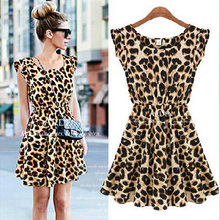 Женское элегантное сексуальное платье с леопардовым принтом