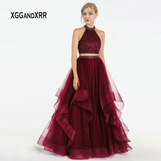 3decbfd3ee25 Burgundy Two Piece Prom Dress 2019 Halter Off Shoulder A Line Long Evening  Dress Elegant Purple Tulle Ruffle Graduation Gown