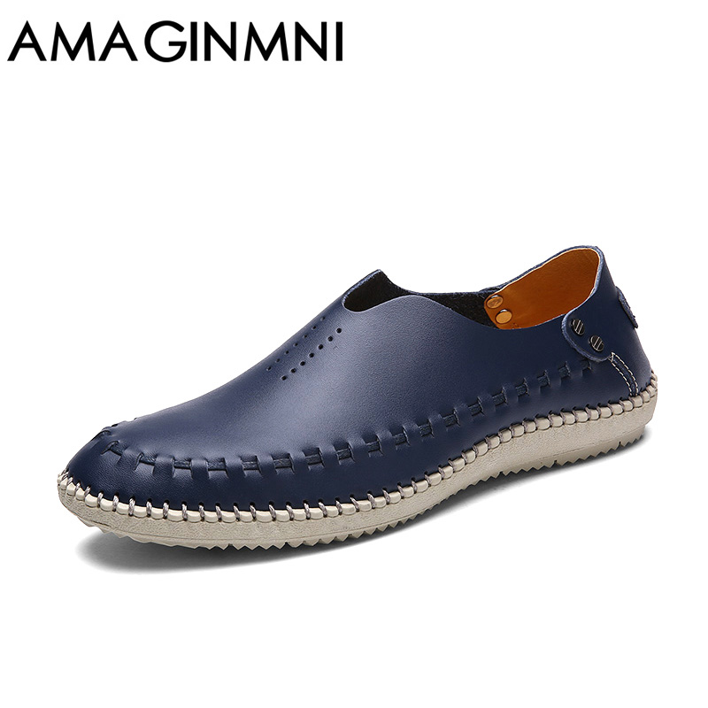 AMAGINMNI Brand Summer Causal Shoes Men Loafers Genuine Leather Moccasins Men Driving Shoes High Quality Flats For Man Plus size genuine leather shoes men top quality driving flats shoes soft leather men shoes loafers moccasins breathable zapatos hombre
