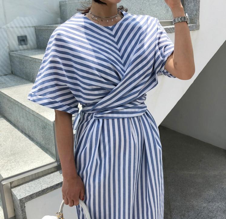 Korean Women Summer Cotton Blue Striped Bandage Split Long Dress Female Long Bodycon Plus Size Vestido Robe Femme Ete Sukienki 3
