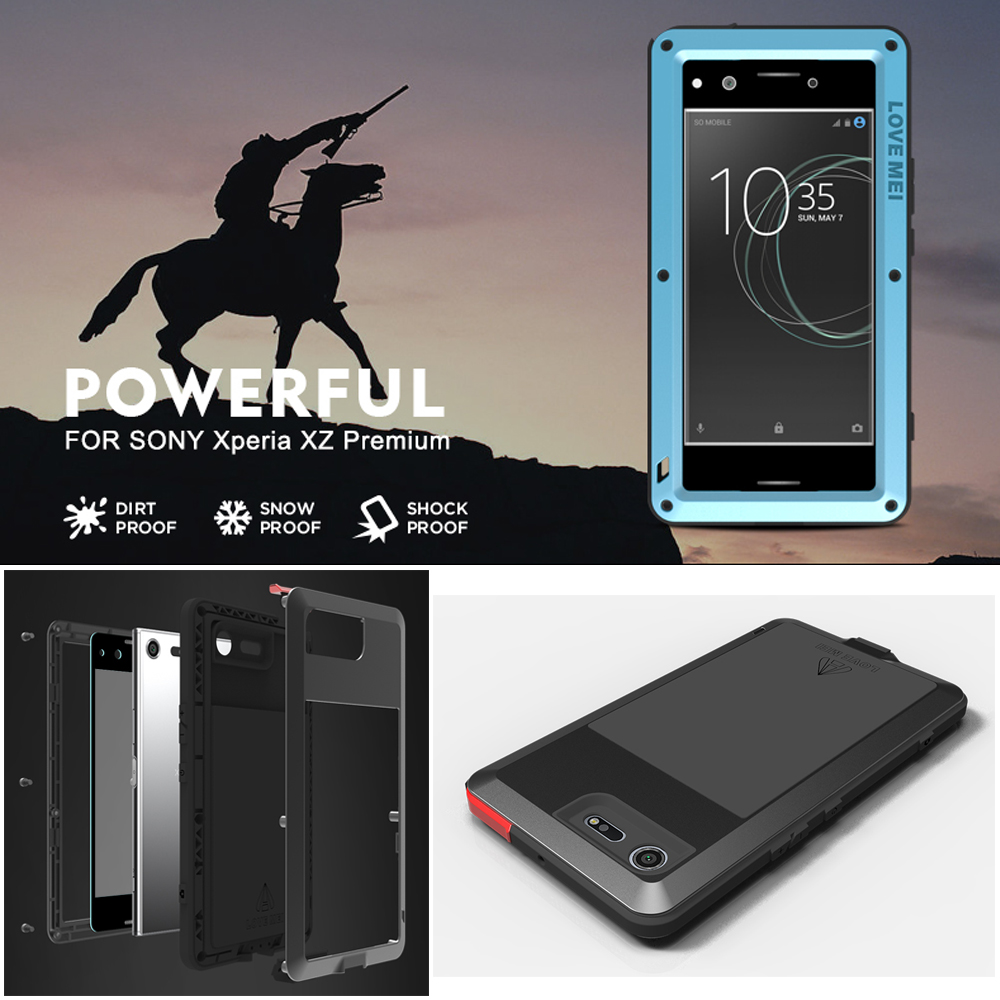 LOVE MEI Outdoor Shockproof Dust-proof Waterproof Tempered Glass Aluminum Metal Case Cover for <font><b>SONY</b></font> Xperia <font><b>XZ</b></font> Premium ORIGINAL