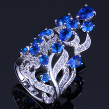 Exclusive Huge Plant Blue Cubic Zirconia White CZ 925 Sterling Silver Ring For Women V0527
