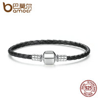 BAMOER Popular 925 Sterling Silver Genuine Leather Bracelets With Snake Chain Unisex DIY Bracelet Fine Jewelry