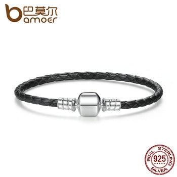 615cefa4f4d2 BAMOER Popular plata esterlina 925 pulseras de cuero con cadena de  serpiente Unisex pulsera DIY joyería fina PAS911
