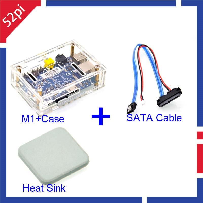 Banana Pi M1 Board BPI Acrylic Transparent Case Banana Pi SATA Cable Ceramic Heat Sink Free