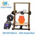 2016 venta Caliente CR-10 desktop 3D impresora de gran tamaño de impresión de BRICOLAJE 300*300*400mm tamaño de impresión ABS, filamento del PLA con cama calentada