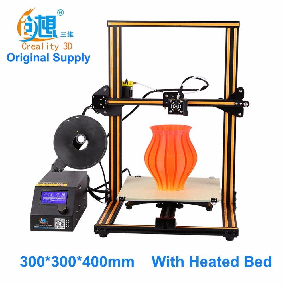 Prix pour Creality CR-10 grande impression taille DIY de bureau 3D imprimante 300*300*400mm taille d'impression ABS, PLA filament avec chauffée lit