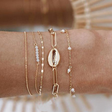 New 5 Pcs/Set Vintage Shell Pearl Charm Bracelet For Women Gold Color Bead Chain Multilayer Bracelet Female Party Jewelry stylish multilayer faux pearl round lace bracelet for women