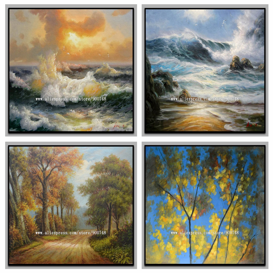 Handpainted scenery sea wave oil painting on canvas - Landscape paintings for living room ...