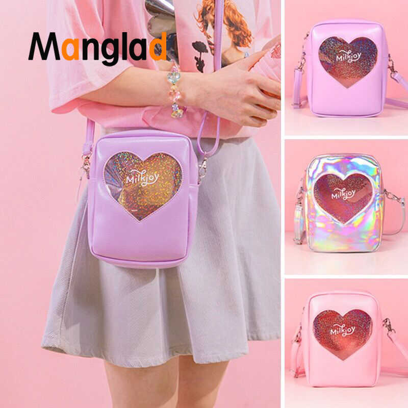 Manglad Fashion Trend Heart Messenger Bag Cosmetic bag Cross  Body Bag Hologram PVC Soft Shoulder Bags Bentoy Women Handbags