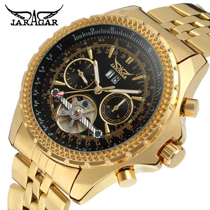 Prix pour Mécanique montres or en acier inoxydable hommes automatique tourbillon volant montres hommes de grande montre-bracelet de luxe jaragar marque w/boîte