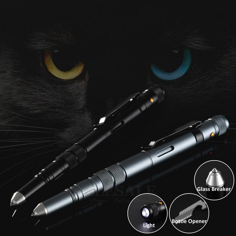 Outdoor EDC Multi-Function Self Defense Tactical Pen Emergency Led Light Strobe Bottle Opener Glass Breaker Birthday Gift
