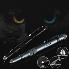 Outdoor EDC Multi Function Self Defense Tactical Pen Emergency Led Light Strobe Bottle Opener Glass Breaker Birthday Gift