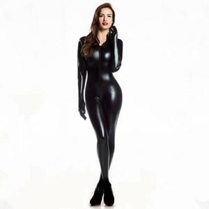 Image 1 - ผู้หญิงเซ็กซี่ Wetlook PVC Latex ชุดชั้นในบอดี้สูทถุงมือเปิดเป้า Clubwear เครื่องราง Catwoman หนัง Faux catsuit เครื่องแต่งกาย