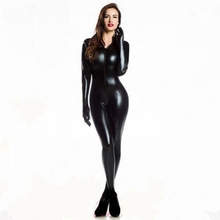 Women Sexy Wetlook PVC Latex lingerie bodysuit With gloves Open Crotch Clubwear fetish Catwoman Faux Leather catsuit costumes