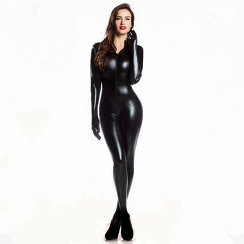 Women Sexy Wetlook PVC Latex lingerie bodysuit With gloves Open Crotch Clubwear fetish woman Faux Leather catsuit costumes