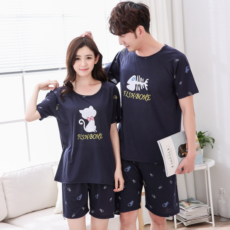 Plus Size 5XL Couples Cotton Cute Cartoon Shorts   Pajamas     Sets   for Women Summer Short Sleeve Sleepwear Men Homewear Pijama Mujer