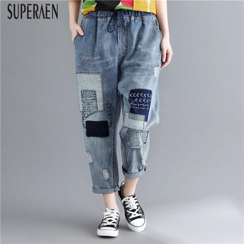 SuperAen 2018 Fashion Women Jeans Pluz Size Wild Elastic Waist Hole Ankle-length Pants Female New Autumn Hole Loose Jeans Women