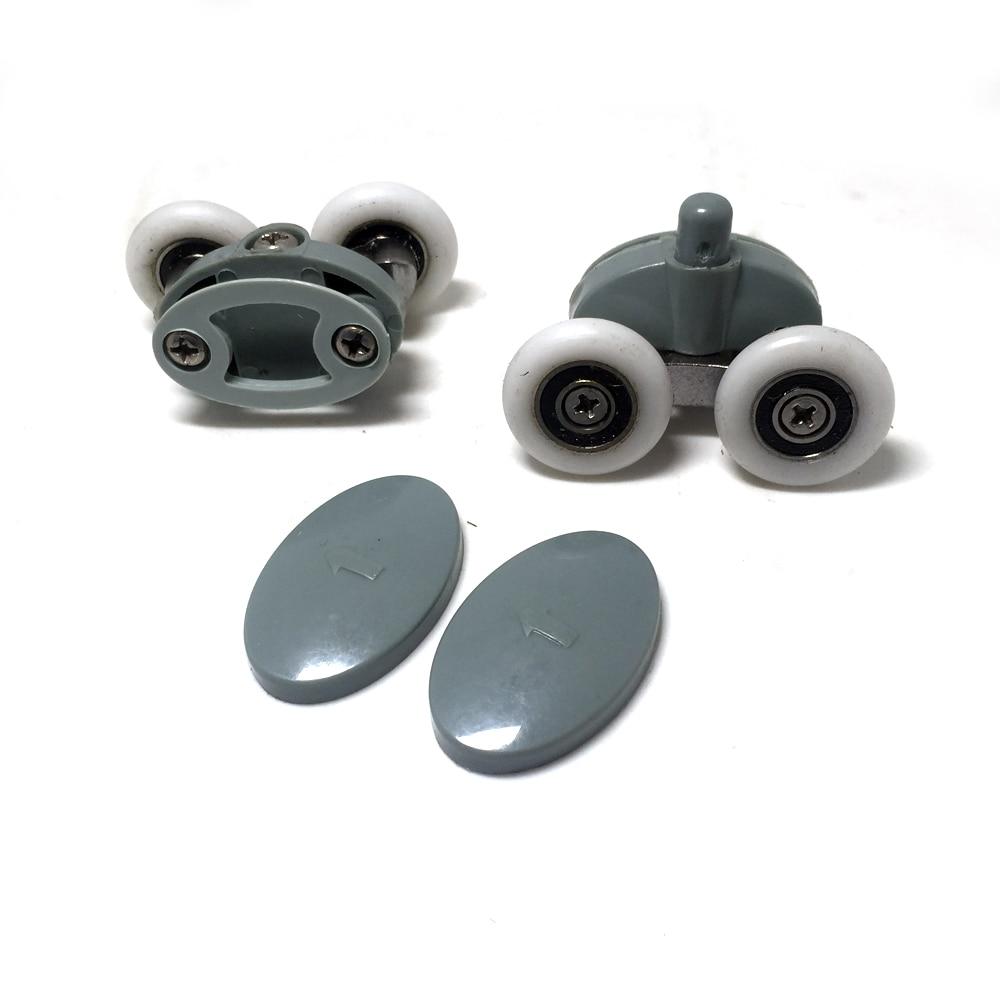 8x Twin Shower Glass Door Top / Bottom Rollers Runners Wheels Pulleys 23mm/25mm